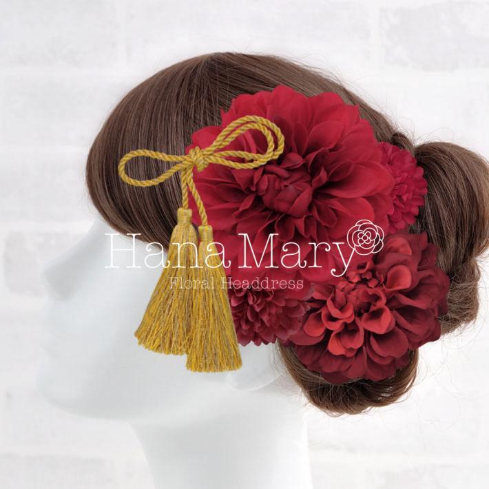ピオニーと椿の髪飾り