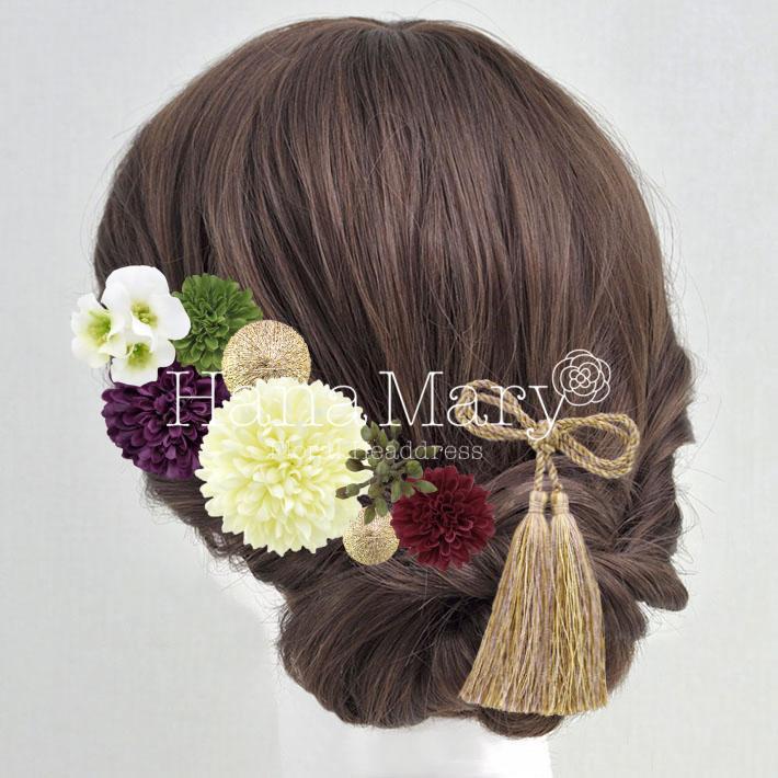 ゴールドタッセルと紫ピンポマムでモダンな髪飾り