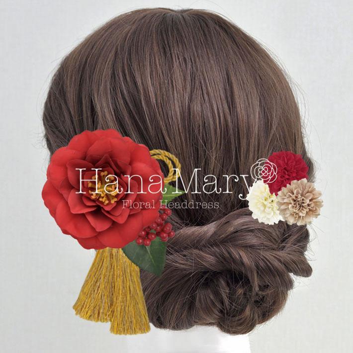 紅椿のモダン髪飾り